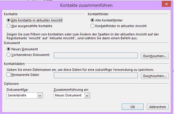 Word-Serienbrief für Outlook-Kontakte