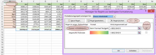 Tipp Excel bedingte Formatierung einaus Regel