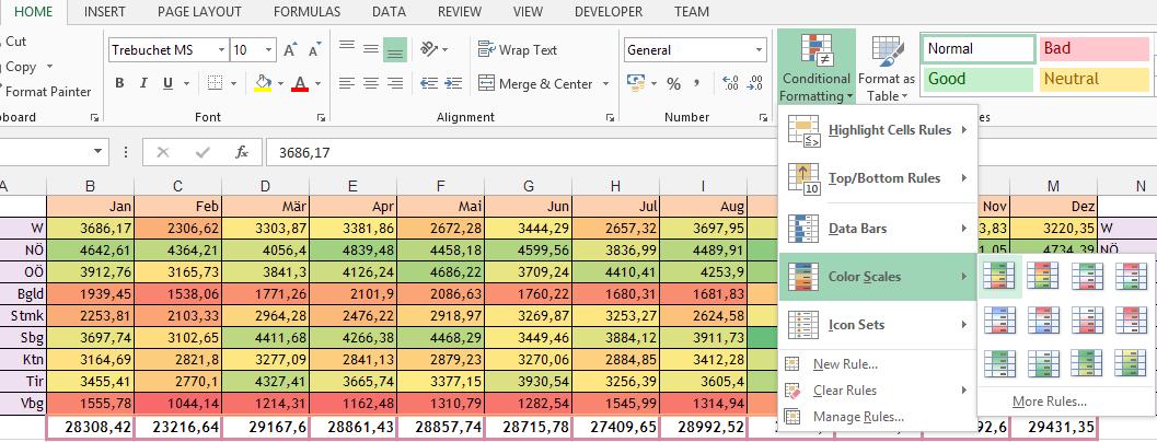 #Excel #Farbe abhängig von #Wert (#bedingte #Formatierung)