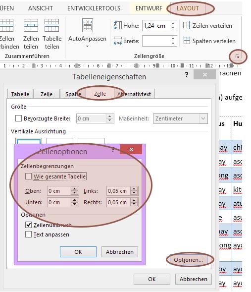 #Word #PowerPoint #Tabelle hat zu viel / zu wenig Luft - #Begrenzung anpassen