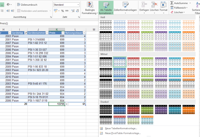 #Excel #Tabelle