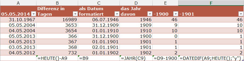 #Excel #Alter in #Jahren exakt