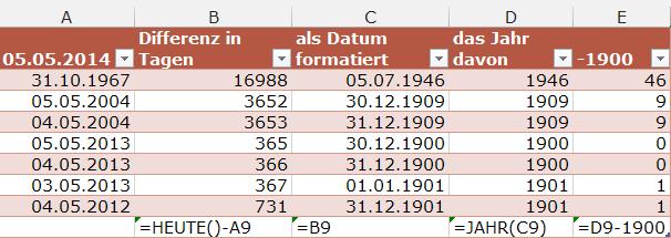 #Excel #Alter bestimmen