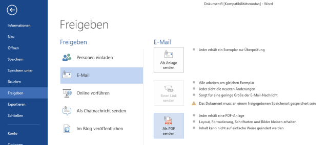 #Dokument als #PDF per #Mail versenden