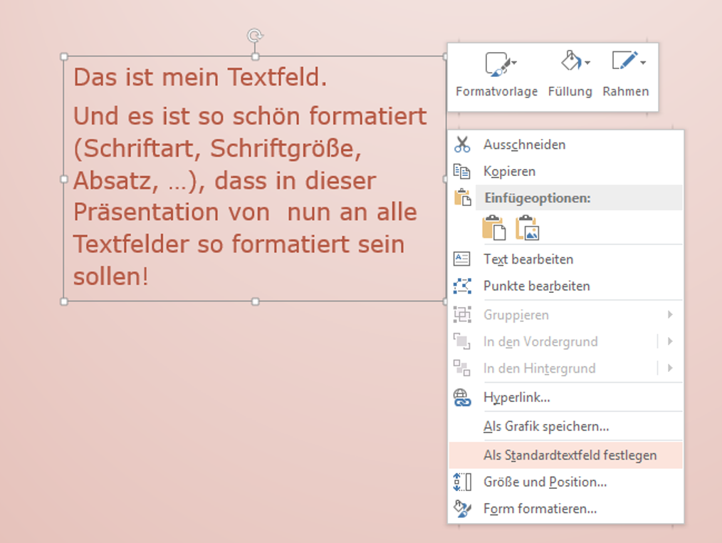 #PowerPoint #Textfeld #Standard #Format