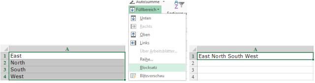 Tipp Excel Blocksatz