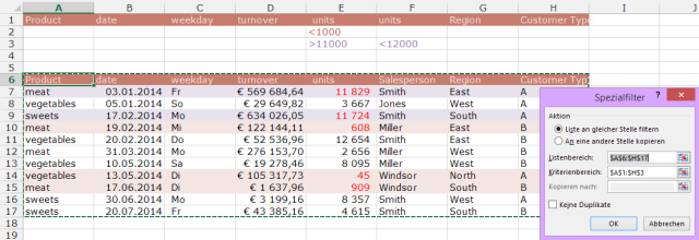 Tipp Excel Filter Erweitert Ranges