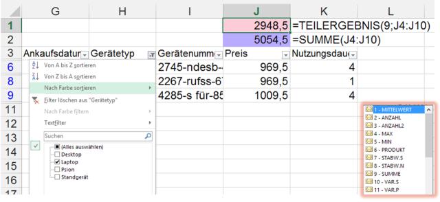 Tipp Excel Filter TEILERGEBNIS