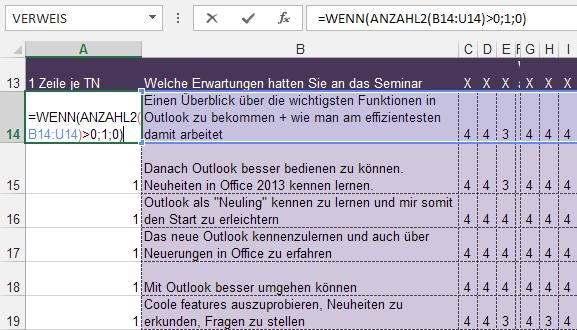 Tipp Excel Fragebogen WENN ANZAHL2