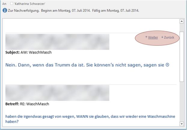 Tipp Outlook Mailverlauf Buttons