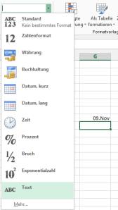Tipp Excel Textformat