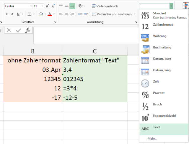 Tipp Excel Textformat2