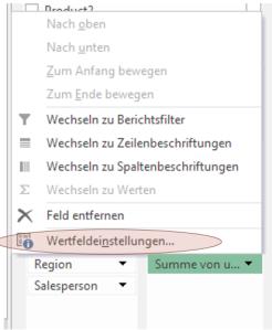 Tipp Excel Wertfeldeinstellungen +