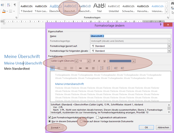 Tipp Word Formatvorlage ändern
