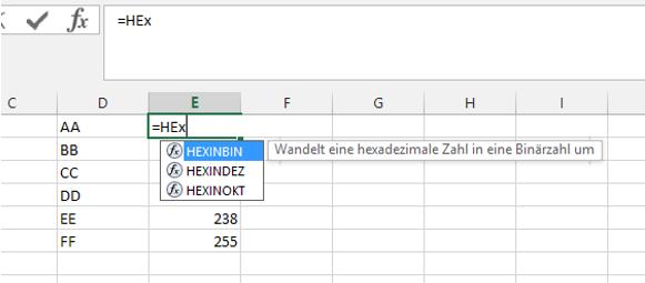 Tipp Excel Hex Konvertierung