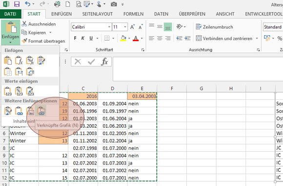 Tipp Excel verknüpfte Grafik