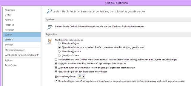 Tipp Outlook Suche Optionen
