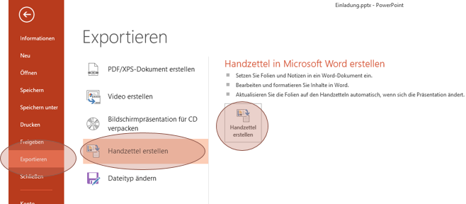 Tipp PowerPoint Handzettel Word 1
