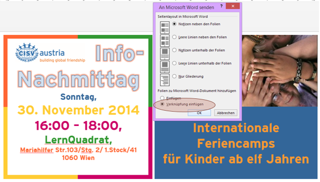 Tipp PowerPoint Handzettel Word 2