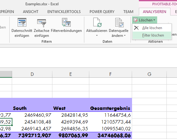 Tipp Excel Pivot Filter löschen