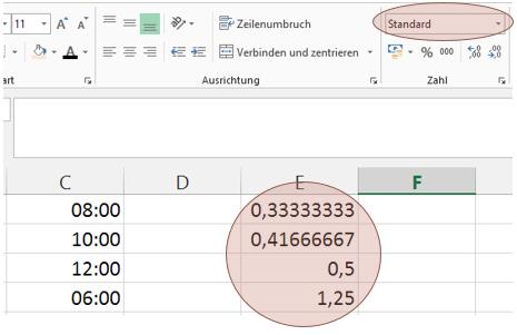 Tipp Excel Uhrzeit Standard