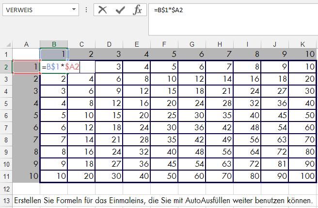 Tipp Excel Zellbezug gemischt