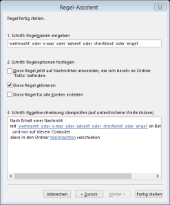 Tipp Outlook Weihnachten Regel6