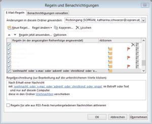 Tipp Outlook Weihnachten Regel7