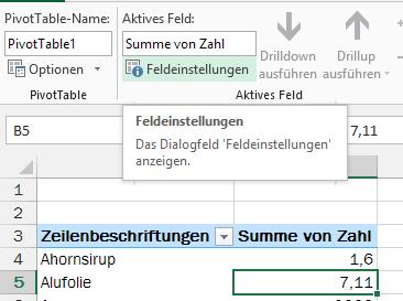 Excel Pivot Feldeinstellungen