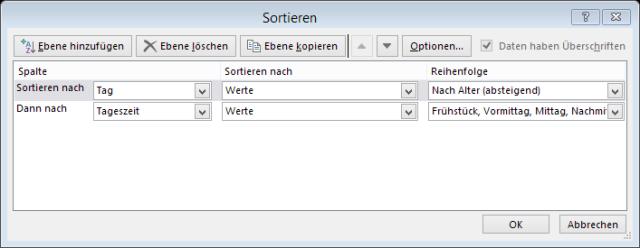 Tipp Excel benutzerdefinierte Liste Sortieren 2