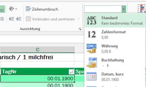 Tipp Excel Format Standard