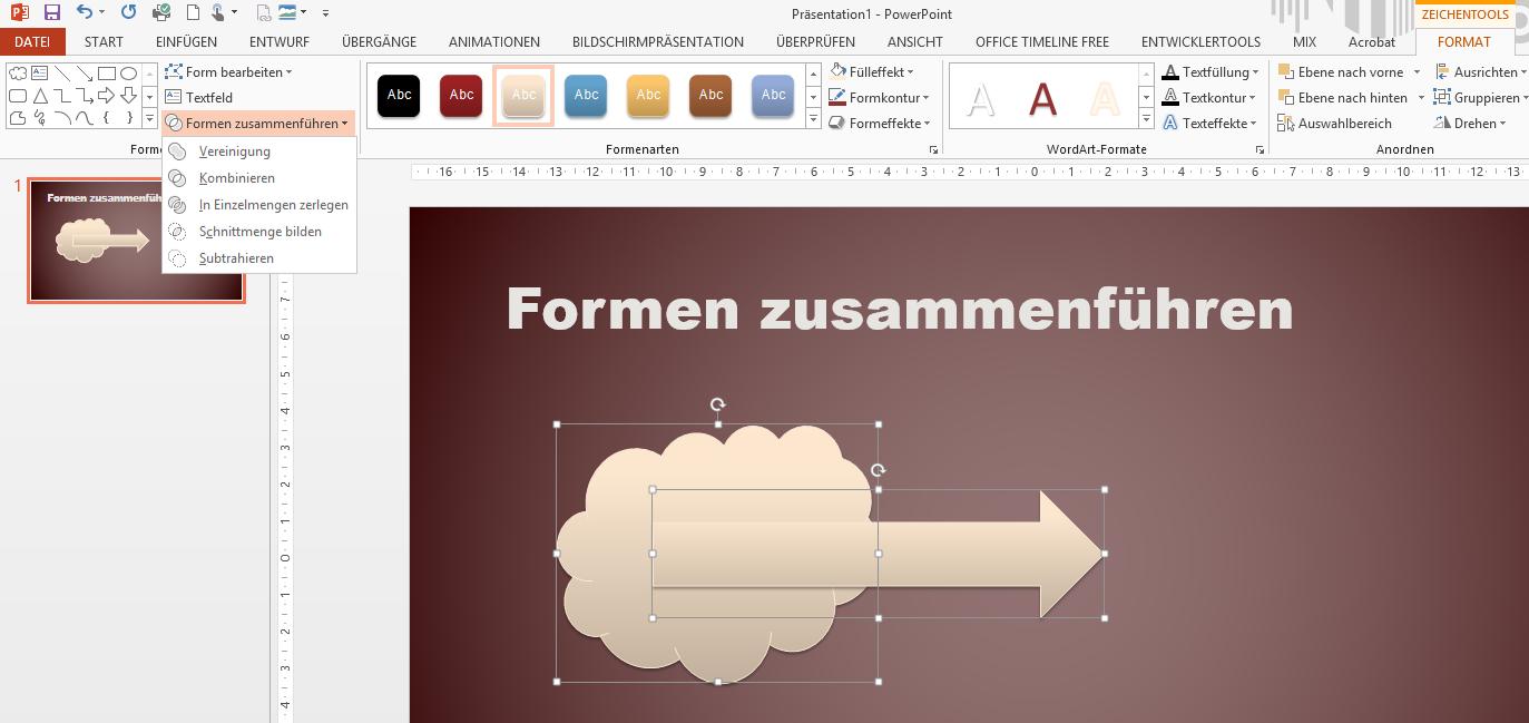 Tipp PowerPoint Formen zusammenführen 2