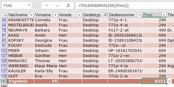 XTipp Tabelle Teilergebnis