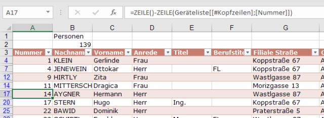 XTipp Tabelle Zeilennummer